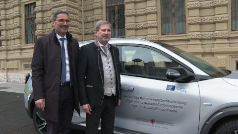 Video: «Landeshauptmann Kompatscher trifft EU-Kommissar Hahn: EU-Mittel für Südtirol»